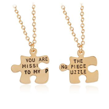 2 pcs/set You Are The Missing Piece To My Puzzle Pendant Necklace for Couples Lovers Women Men Anniversary Gift Love Jewelry
