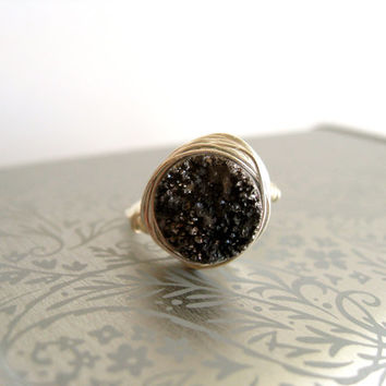 Sparkling Druzy Ring Stacking Ring Silver Black Diamond Charcoal Grey Gift for Her Under 50 Vitrine