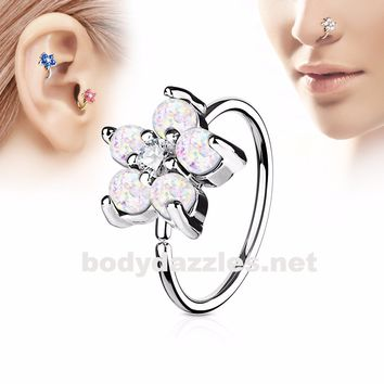 White Opal Glitter Set Flower Petals CZ Center 316L Surgical Steel Hoop Ring for Nose Ear Cartilage Daith Rook