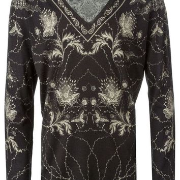 ONETOW Alexander McQueen floral and paisley intarsia sweater