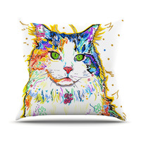 "Rebecca Fischer ""Royal"" Rainbow Cat Outdoor Throw Pillow"