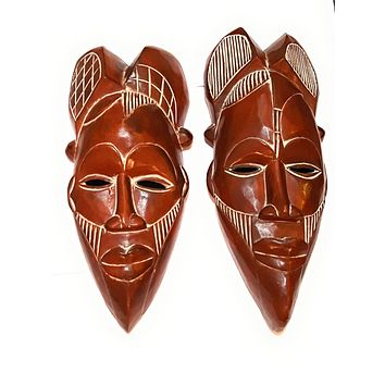 "14"" African Wood Mask: Brown"