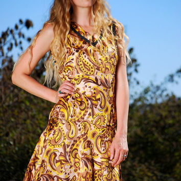 Vintage 60s MOD Dress, Short Paisley Drop Waist Dress 1920s Style Psychedelic Tennis Dress Yellow Gold Brown Abstract Pleated Midi SMALL