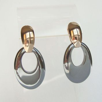 Hematite Leverback Convertible Earrings Doorknocker Style Gemstone Jewelry
