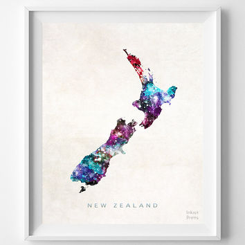 New Zealand Map, Oceania, Print, Wellington, Watercolor, Home Town, Poster, Country, Wall Decor, Painting, World, Living Room, Gift