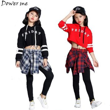 Teens Girls Two Piece Set Long Sleeve Children Crop Tops And Plaid Skirt Pant Kids Hip Hop Dance Clothes Girls Children Spring