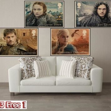 Game of Thrones stamps Vintage Kraft Paper movie Poster Retro Wall art Home Decorative Wall Sticker Home Decora Bar Cafe A1