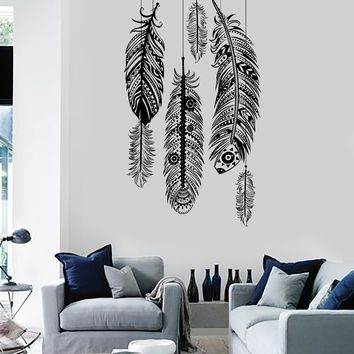 Wall Vinyl Decal Feather Romantic Bedroom Guaranteed Quality Decor Unique Gift z3687