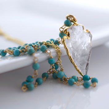 Long Necklace, Layering Jewelry, Delicate Jewelry, Turquoise Necklace, Minimalist Jewelry