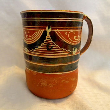 Mexican Tlaquepaque redware pitcher handmade pottery 1930's