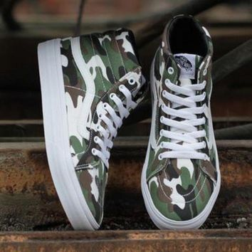 CREYONS Vans Camouflage Print Canvas Ankle Boots Flats Sneakers Sport Shoes