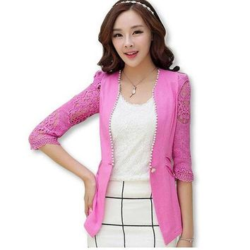 2016 Spring And Summer Style Linen Lace Suit Jacket Female Three Quarter Sleeve Female Blazer Coat Women Jacket Flm1366