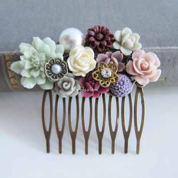 Chintz Wedding Comb Romantic Bridal Hair Accessories Sea Foam Mint Purple Plum Orchid Maroon Blush Hair Slide Bridesmaid Hair Adornment