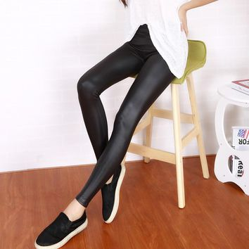 NEW Slim female leather pants thin spring and summer trousers women's pencil elastic PU long pants 4 colors