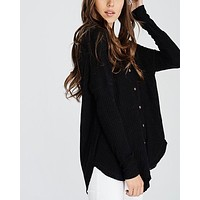 EVA - long sleeve thermal waffle knit v neck button down lightweight sweater - black