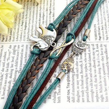 Stunning Handmade Leather Infinity Charm Bracelet Friendship Braclet with elephant owls infinity USA Seller Item #BST-159
