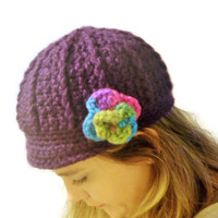 deep purple crochet newsboy cap with flower, newsboy hat, OOAK hat