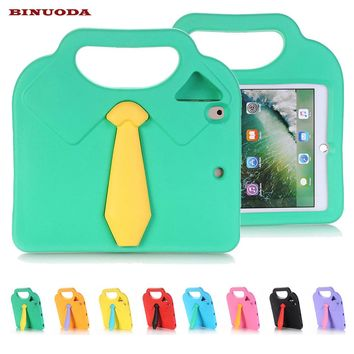 New Cover Cases for iPad Air2 iPad 6 Coque Capa Cute 3D Necktie EVA Foam Non-toxic Shockproof Stand Handle Case for iPad Air 2