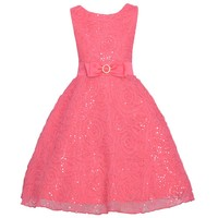 Rare Editions Coral Sequin Rosette Soutache Easter Dress Girls 7-16
