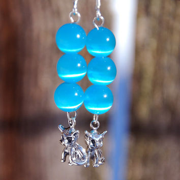 Handmade Sterling Silver Kitty Cat Charm and Turquoise Cats Eyes bead earrings. blue earrings, cats eyes earrings, sterling silver cat charm