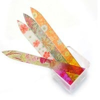 E-MART 4 Color Crystal Glass Nail Files Durable Case 5.5inch (Nail Files)