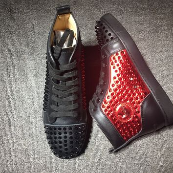 KUYOU Christian Louboutin red sole classic rivet Roller Boat CL black and red high-top sneakers