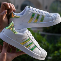 """Adidas"" Fashion Reflective Shell-toe Flats Sneakers Sport Shoes Green"