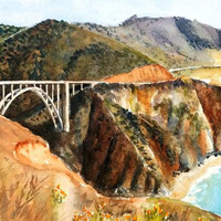 Bridge Painting, 12x16 ORIGINAL Watercolor, Big Sur, California Pacific Coast, Bixby Bridge, Monterey, Highway 1, PCH, Ocean, Landscape, Sea