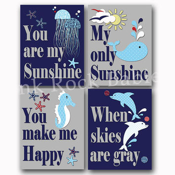 You are my sunshine ocean nursery wall art nautical baby boy room decor kids poster sea life artwork dolphins decoration shower toddler gift