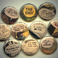 "COMIC BOOK CAPTIONS 10 Pinback 1"" Buttons Badges Pins"
