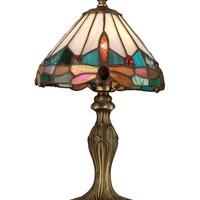 "0-000543>14""h Dragonfly 1-Light Tiffany Accent Lamp Antique Brass"