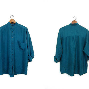 Minimal Silk Blouse Oversized Teal Blue Slouchy Shirt Button Up Modern Silk Top Long Sleeve Casual Baggy Top Loose Fit Unisex Mens Medium