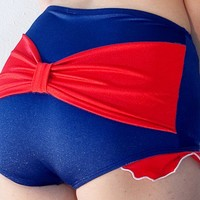 SALE  Shirley Bow Back with Ruffles Retro High Waisted Swim Bottom in Navy/Red (XS-XL)