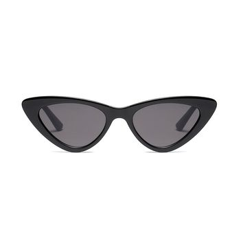 Slim Retro Cat Eye Sunglasses | Black