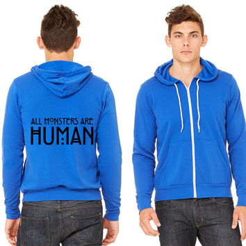 All monsters are human Zipper Hoodie