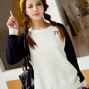Beige Long Cuff Sleeve with Graphic Patchwork Sweater