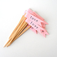 Cupcake Toppers 12 Pink Love Flags HandStamped Decor by LBCpaper