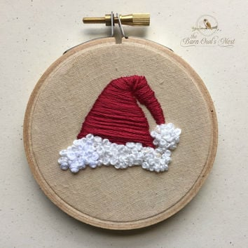 Santa Hat Embroidered Christmas Ornament, Embroidered Christmas Ornament, Embroidered Santa Hat, Santa Ornament, Vintage Santa Hat Ornament