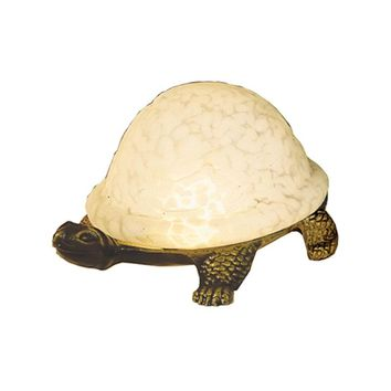 "Meyda 4""H Turtle Art Glass Accent Lamp"
