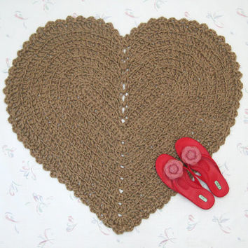 Large Heart Shaped Jute Rug - Rustic Decor - Indoor Outdoor Rug - Kitchen Mat - Rustic Wedding - Hippie Rug - Porch Rug - Valentine Rug