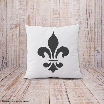 Fleur de lis pillow-french pillow cover-french pillow-fleur de lys pillow cover-shabby chic pillow-pillow-home decor-NATURA PICTA-NPCP044