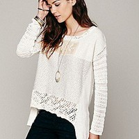 Free People Womens Crochet Patched Pullover - Ivory, XS