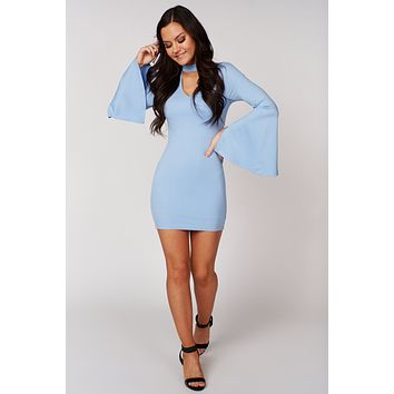 Essence Of Love Bell Sleeve Bodycon Dress (Baby Blue)