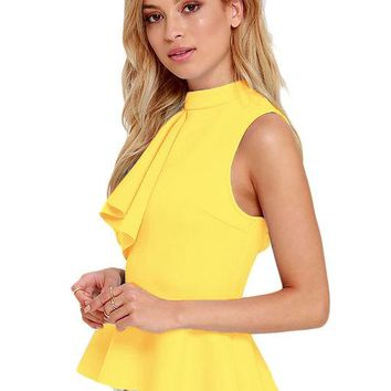 Ruffle Side Turtleneck Sleeveless Blouse