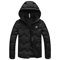 Adidas  Autumn And Winter New Fashion Hooded Keep Warm Women Men Down Jacket Cap Removable Black