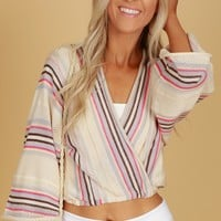 Knit Striped Wrap Top Taupe