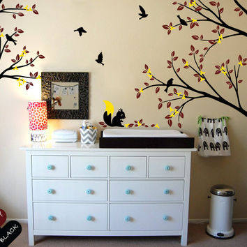 Large Wall Tattoo Modern Nursery Corner Trees Wall Decal with Flying Birds Squirrels and Leaves Nursery Wall Stickers JW213