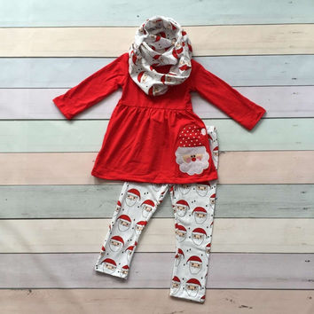 FALL OUTFITS persnickety girls 3 pieces with scarf sets girls Christmas pant sets kids Santa clothes kids red top clothing