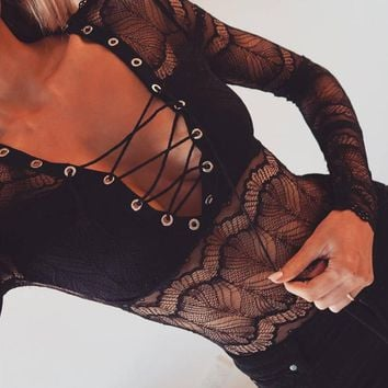 Sexy Lace V-Neck Bandage Long Sleeves Romper Jumpsuit