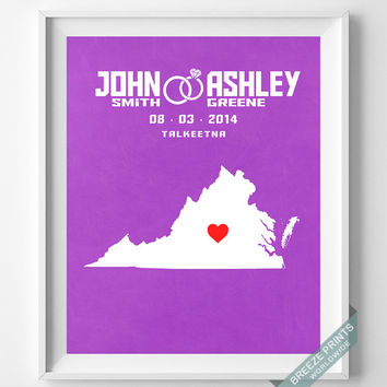 Personalized, Print, Virginia, Wedding, Anniversary, Customized, Family, State, Groom, Bride, Wall Art, Home Decor, Marriage, Love [NO 45]